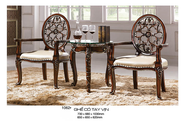 Bộ bàn ghế phòng khách gỗ sồi nghệ thuật RA1062