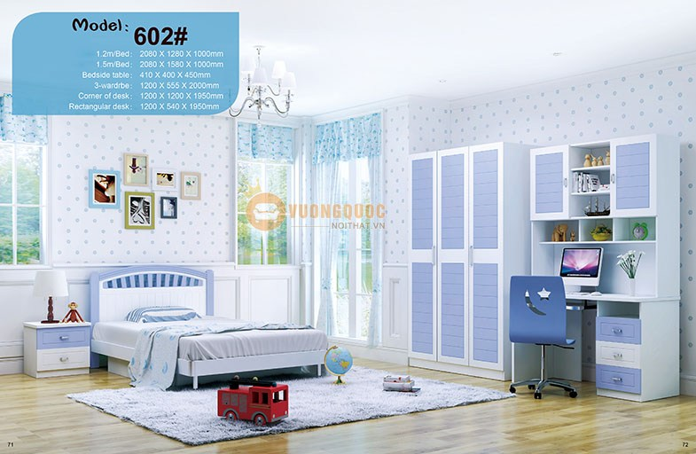Bộ phòng ngủ cho bé trai cao cấp HHM602
