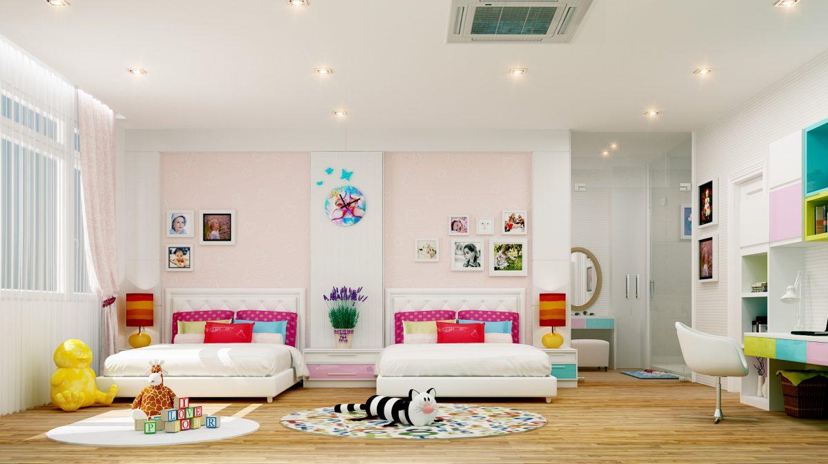 Mẫu phòng ngủ cho 2 bé gái