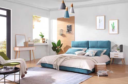 Giường ngủ đẹp không chân phong cách Hàn Quốc