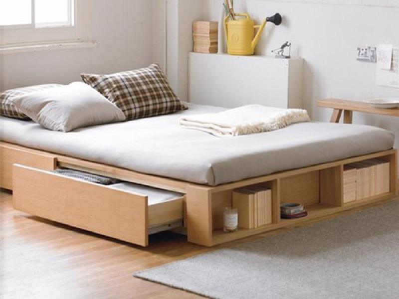 Giường ngủ đơn giản không chân kết hợp ngăn đựng đồ